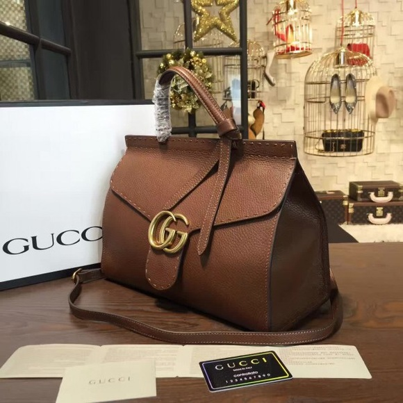 10e2498254dcc7 Gucci Bags | Gg Marmont Medium Leather Top Handle Bag | Poshmark